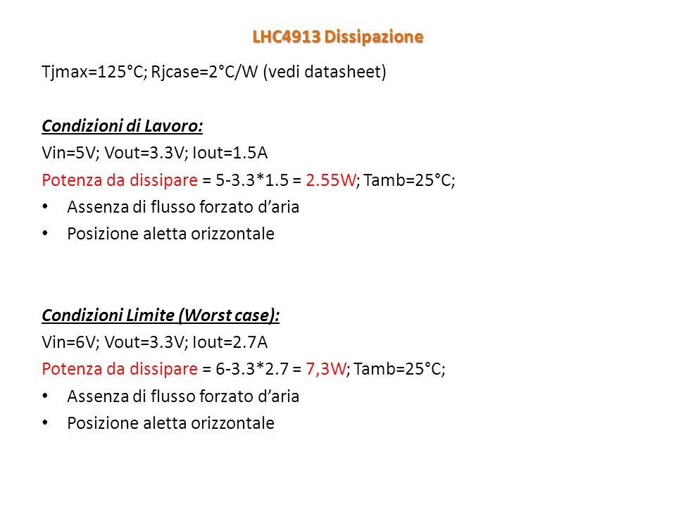 Tjmax=125°C; Rjcase=2°C/W (vedi datasheet) Condizioni di Lavoro: Vin=5V; Vout=3.3V; Iout=1.5A Potenza da dissipare = 5-3.3*1.5 = 2.55W; Tamb=25°C; Assenza di flusso forzato daria Posizione aletta orizzontale Condizioni Limite (Worst case): Vin=6V; Vout=3.3V; Iout=2.7A Potenza da dissipare = 6-3.3*2.7 = 7,3W; Tamb=25°C; Assenza di flusso forzato daria Posizione aletta orizzontale LHC4913 Dissipazione