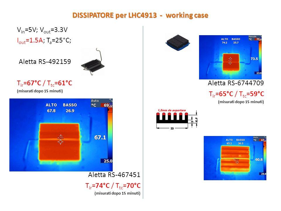 V in =5V; V out =3.3V I out =1.5A; T a =25°C; Aletta RS-492159 T ir =67°C / T tc =61°C (misurati dopo 15 minuti) Aletta RS-467451 T ir =74°C / T tc =70°C (misurati dopo 15 minuti) Aletta RS-6744709 T ir =65°C / T tc =59°C (misurati dopo 15 minuti) DISSIPATORE per LHC4913 - working case