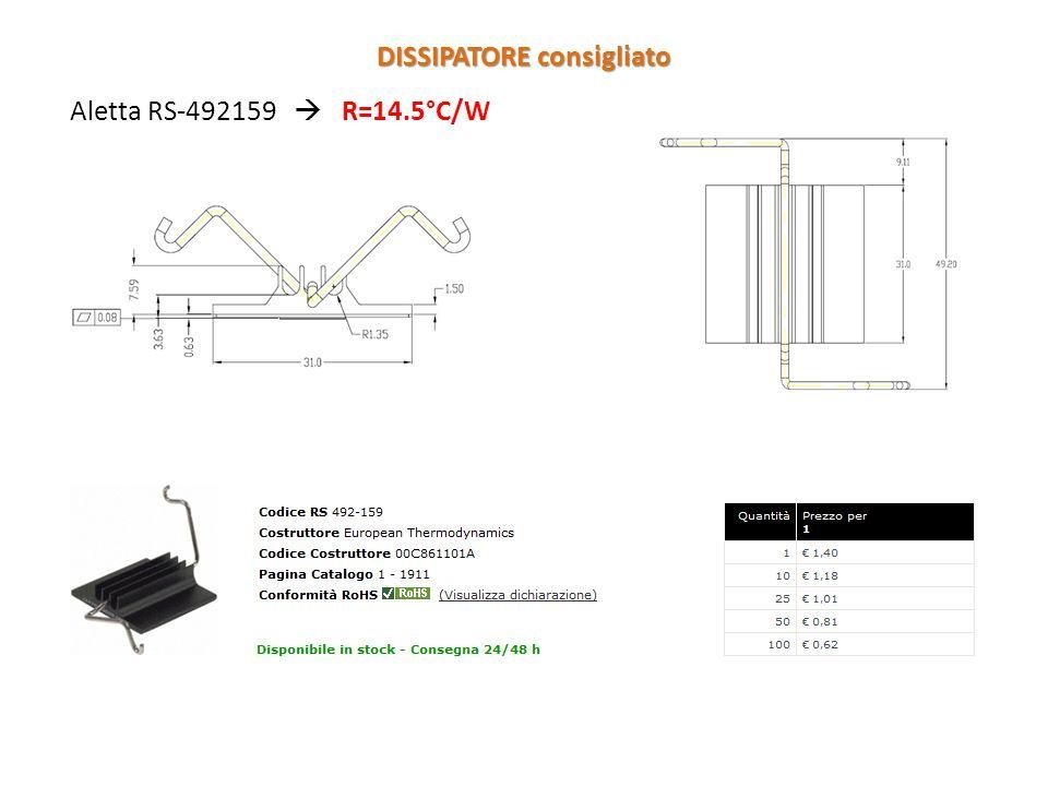 Aletta RS-492159 R=14.5°C/W DISSIPATORE consigliato