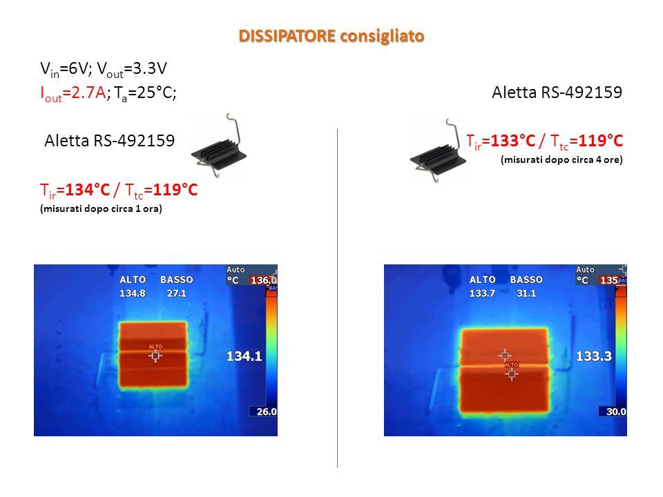 V in =6V; V out =3.3V I out =2.7A; T a =25°C; Aletta RS-492159 T ir =134°C / T tc =119°C (misurati dopo circa 1 ora) Aletta RS-492159 T ir =133°C / T tc =119°C (misurati dopo circa 4 ore) DISSIPATORE consigliato