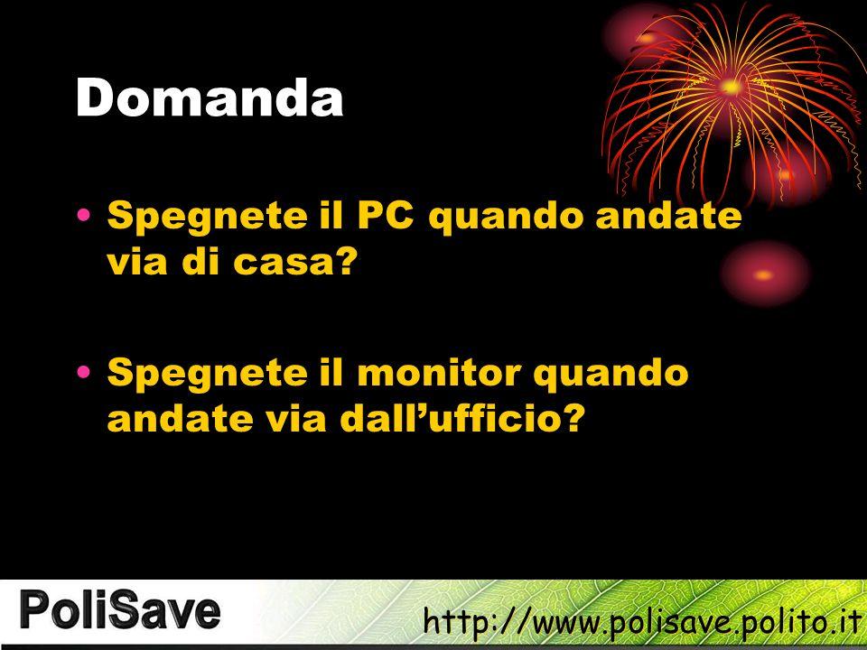 http://www.polisave.polito.it Domanda Spegnete il PC quando andate via di casa.