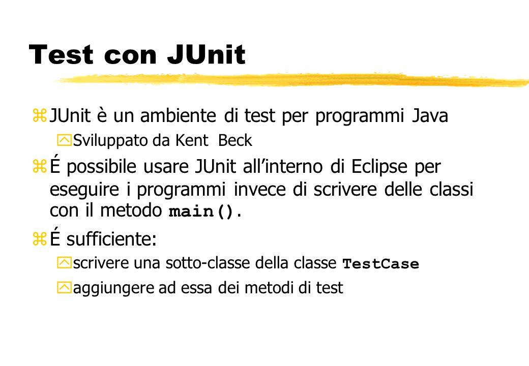 zJUnit è un ambiente di test per programmi Java ySviluppato da Kent Beck É possibile usare JUnit allinterno di Eclipse per eseguire i programmi invece