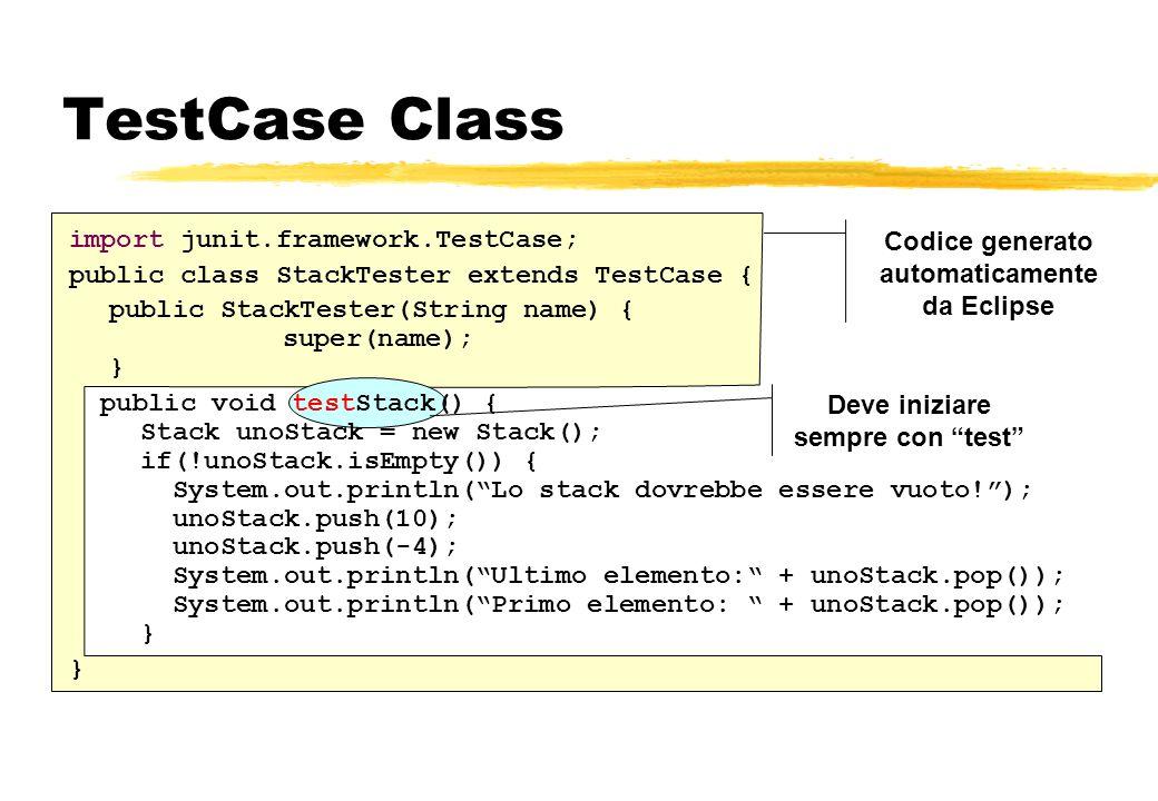 Codice generato automaticamente da Eclipse Deve iniziare sempre con test TestCase Class import junit.framework.TestCase; public class StackTester exte