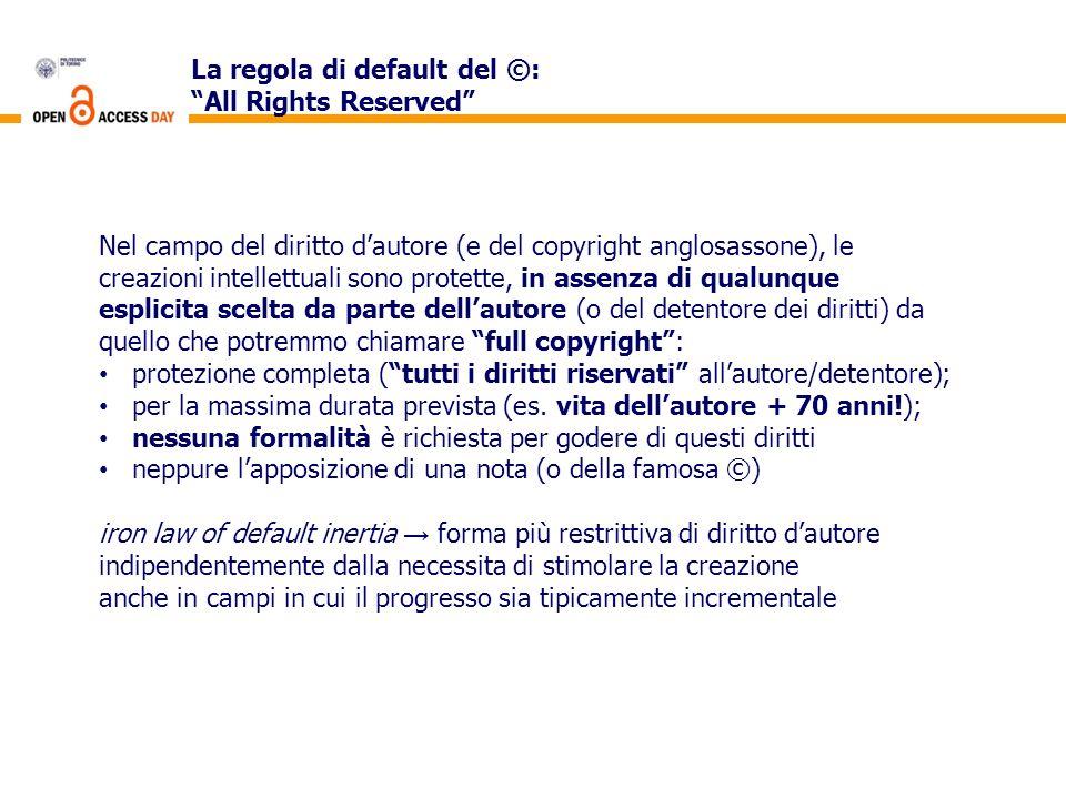 La regola di default del ©: All Rights Reserved Nel campo del diritto dautore (e del copyright anglosassone), le creazioni intellettuali sono protette
