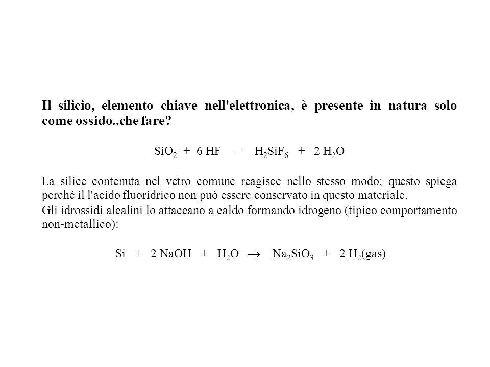 Il silicio, elemento chiave nell'elettronica, è presente in natura solo come ossido..che fare? SiO 2 + 6 HF H 2 SiF 6 + 2 H 2 O La silice contenuta ne
