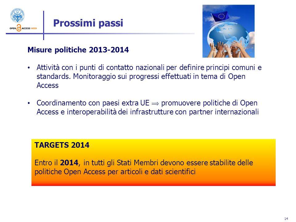 14 Misure politiche 2013-2014 Attività con i punti di contatto nazionali per definire principi comuni e standards. Monitoraggio sui progressi effettua