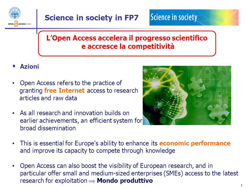 6 LOpen Access accelera il progresso scientifico e accresce la competitività Azioni Open Access refers to the practice of granting free Internet acces