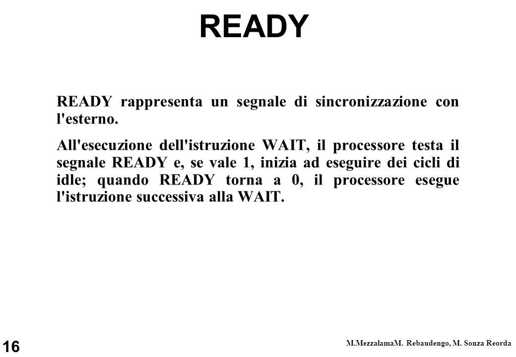 16 M.MezzalamaM. Rebaudengo, M. Sonza Reorda READY READY rappresenta un segnale di sincronizzazione con l'esterno. All'esecuzione dell'istruzione WAIT