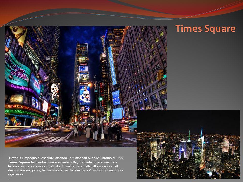 Grazie allimpegno di esecutivi aziendali e funzionari pubblici, intorno al 1990 Times Square ha cambiato nuovamente volto, convertendosi in una zona turistica sicurezza e ricca di attività.