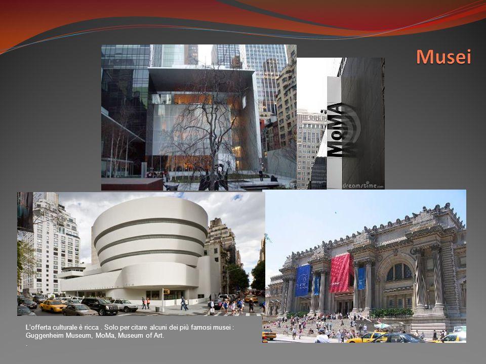 Lofferta culturale è ricca. Solo per citare alcuni dei più famosi musei : Guggenheim Museum, MoMa, Museum of Art..
