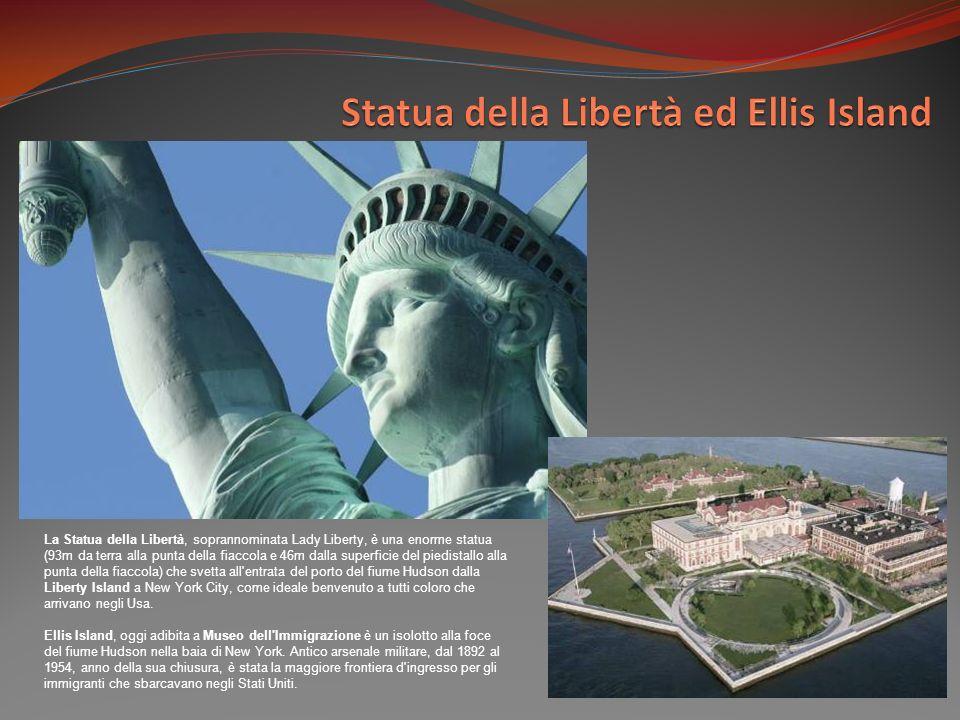 La Statua della Libertà, soprannominata Lady Liberty, è una enorme statua (93m da terra alla punta della fiaccola e 46m dalla superficie del piedistallo alla punta della fiaccola) che svetta all entrata del porto del fiume Hudson dalla Liberty Island a New York City, come ideale benvenuto a tutti coloro che arrivano negli Usa.