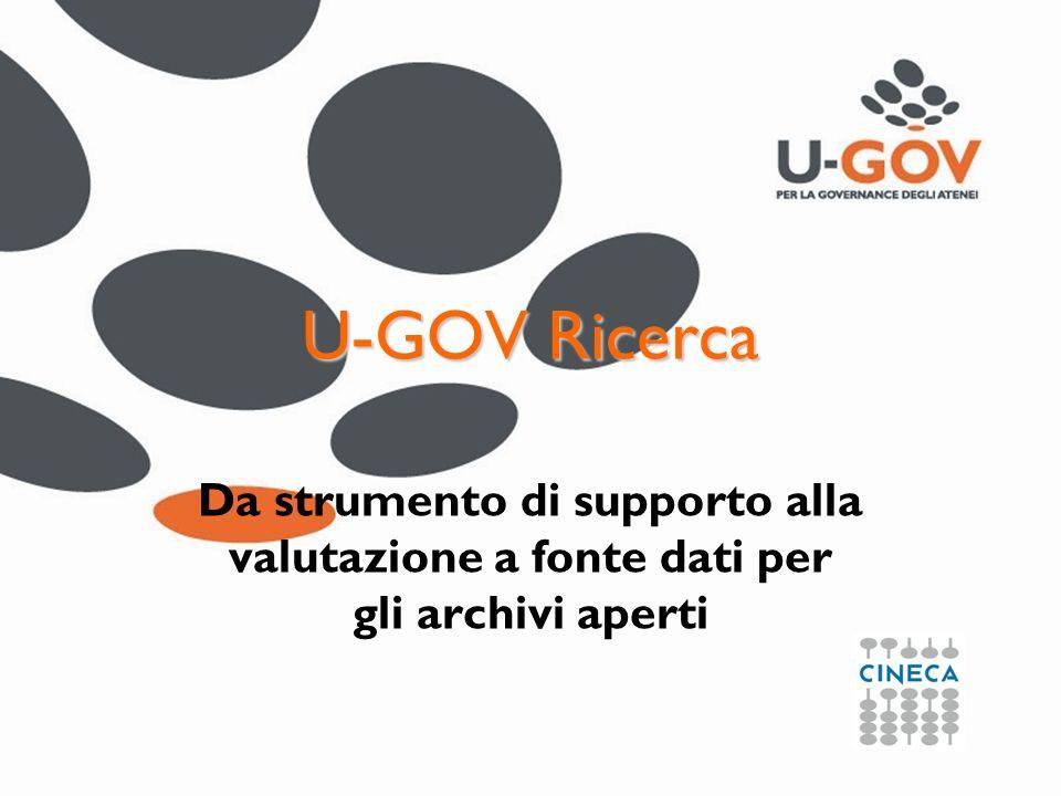 U-GOV Ricerca Da strumento di supporto alla valutazione a fonte dati per gli archivi aperti