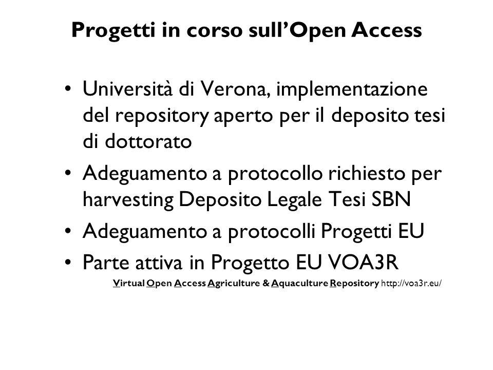 Progetti in corso sullOpen Access Università di Verona, implementazione del repository aperto per il deposito tesi di dottorato Adeguamento a protocol