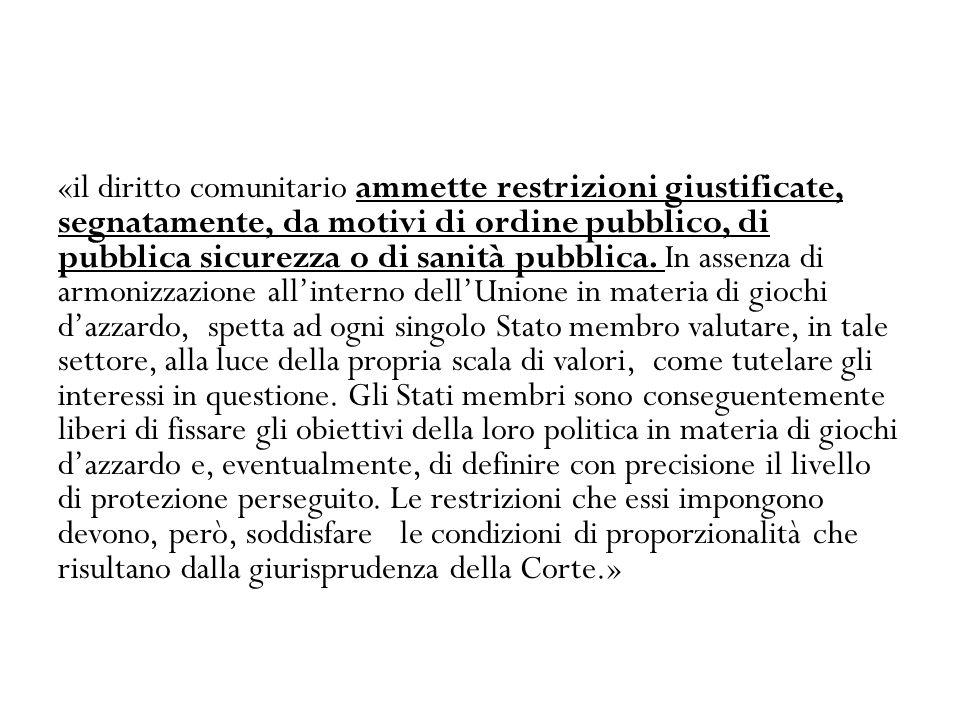 «il diritto comunitario ammette restrizioni giustificate, segnatamente, da motivi di ordine pubblico, di pubblica sicurezza o di sanità pubblica.