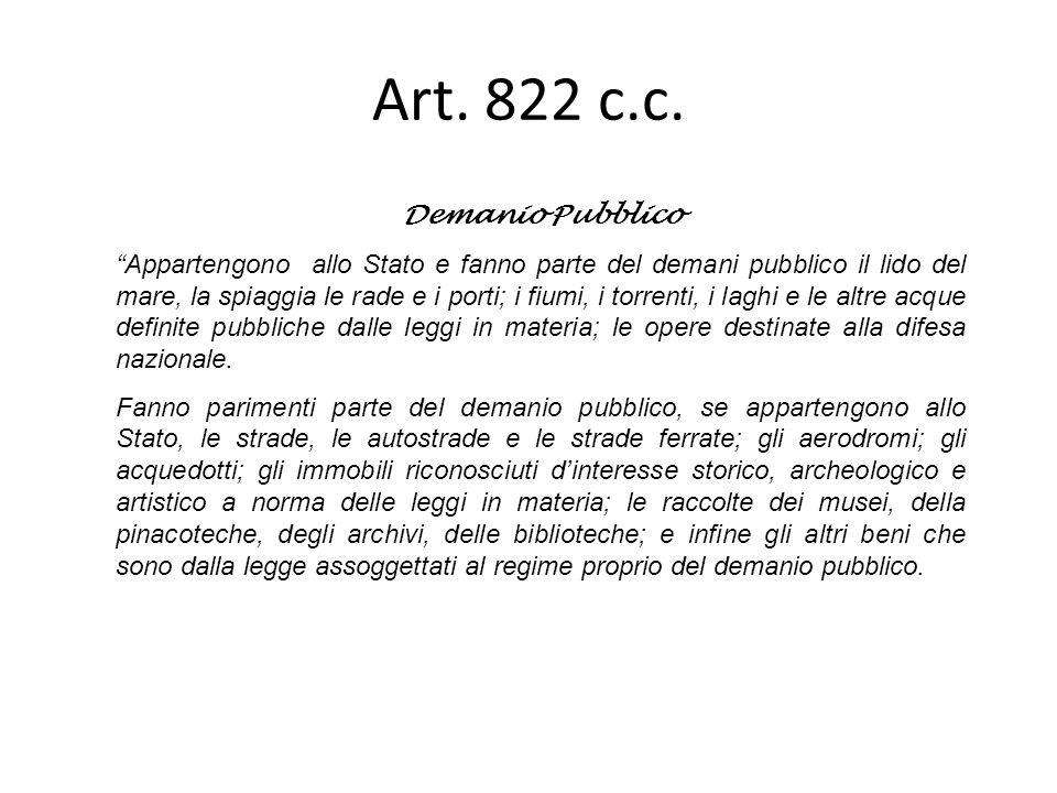 Art. 822 c.c. Demanio Pubblico Appartengono allo Stato e fanno parte del demani pubblico il lido del mare, la spiaggia le rade e i porti; i fiumi, i t