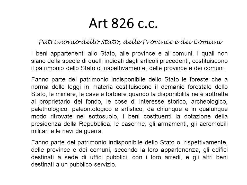 Art 826 c.c. Patrimonio dello Stato, delle Province e dei Comuni I beni appartenenti allo Stato, alle province e ai comuni, i quali non siano della sp