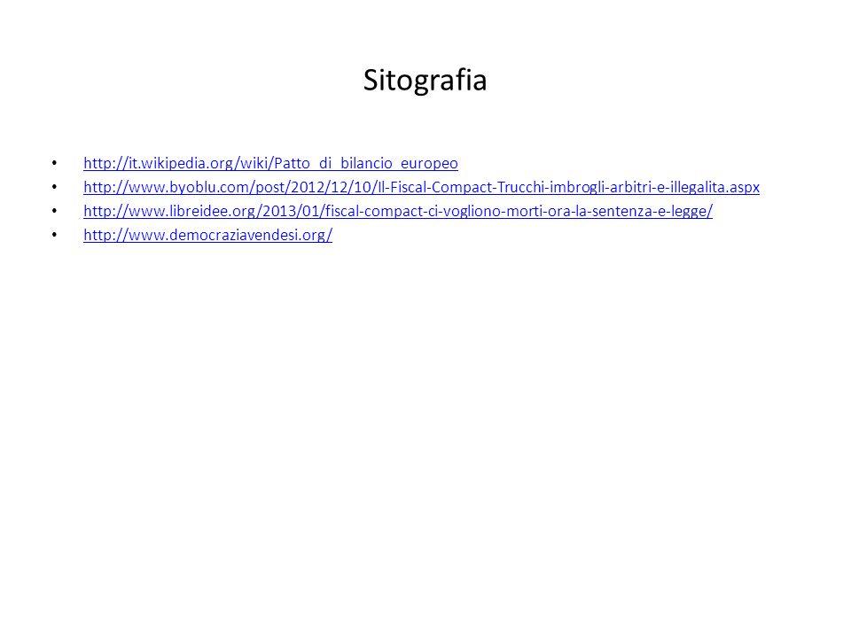 Sitografia http://it.wikipedia.org/wiki/Patto_di_bilancio_europeo http://www.byoblu.com/post/2012/12/10/Il-Fiscal-Compact-Trucchi-imbrogli-arbitri-e-i