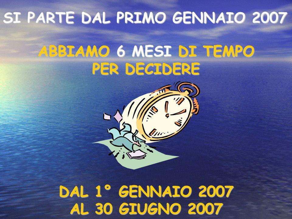 SI PARTE DAL PRIMO GENNAIO 2007 ABBIAMO 6 MESI DI TEMPO PER DECIDERE DAL 1° GENNAIO 2007 AL 30 GIUGNO 2007