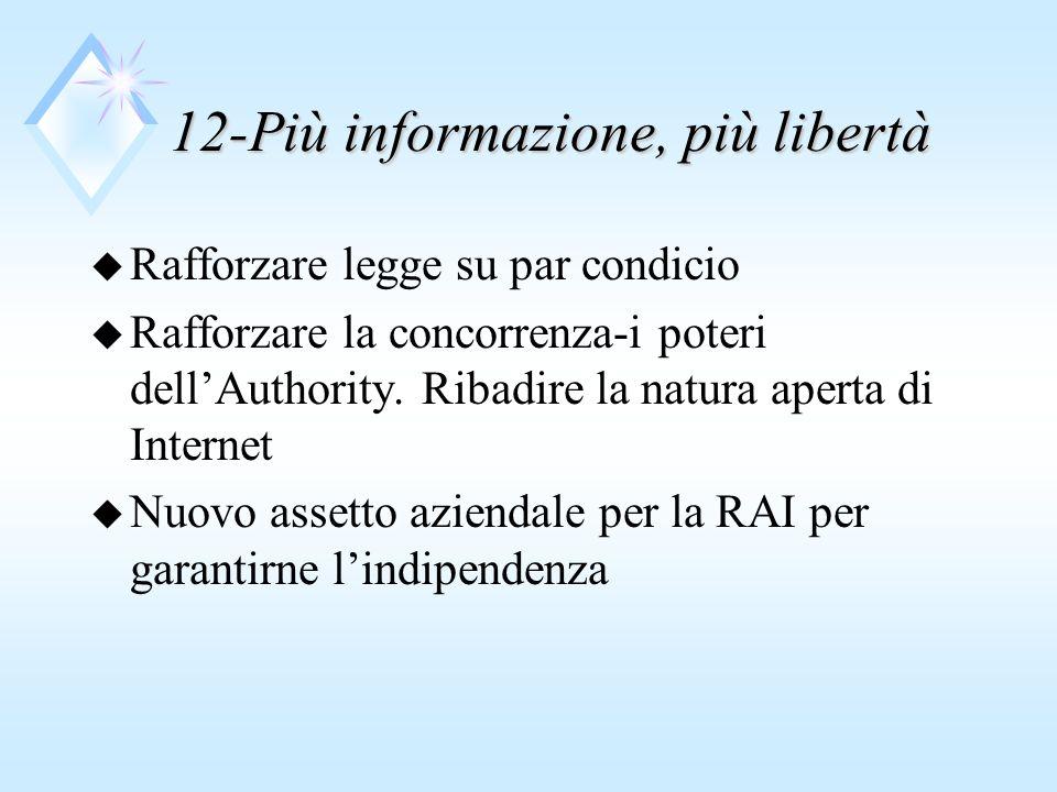 12-Più informazione, più libertà u Rafforzare legge su par condicio u Rafforzare la concorrenza-i poteri dellAuthority.