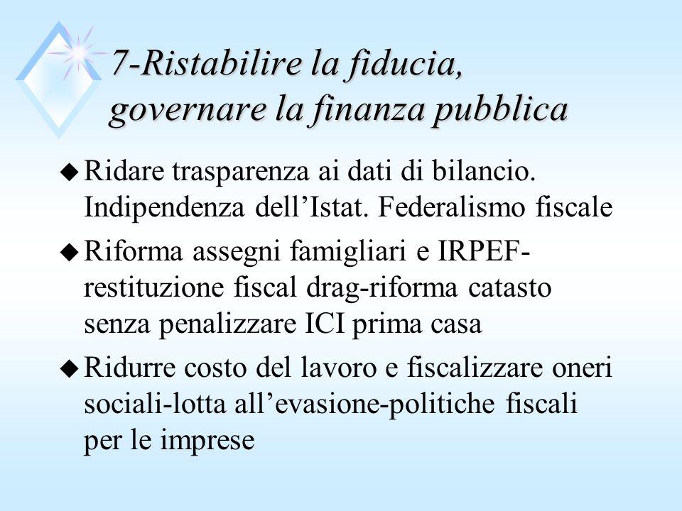 7-Ristabilire la fiducia, governare la finanza pubblica u Ridare trasparenza ai dati di bilancio.