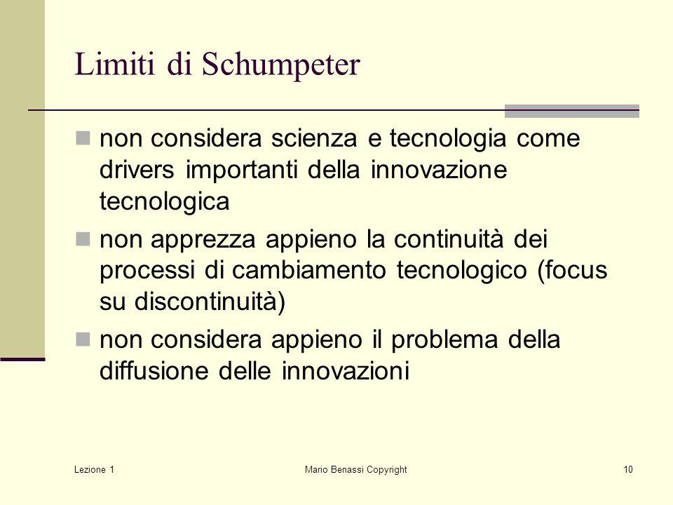 Lezione 1 Mario Benassi Copyright10 Limiti di Schumpeter non considera scienza e tecnologia come drivers importanti della innovazione tecnologica non