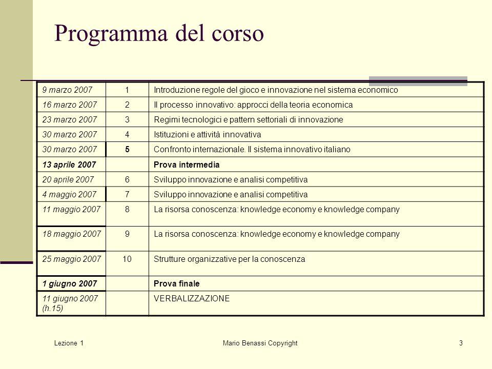 Lezione 1 Mario Benassi Copyright3 Programma del corso 9 marzo 20071Introduzione regole del gioco e innovazione nel sistema economico 16 marzo 20072Il