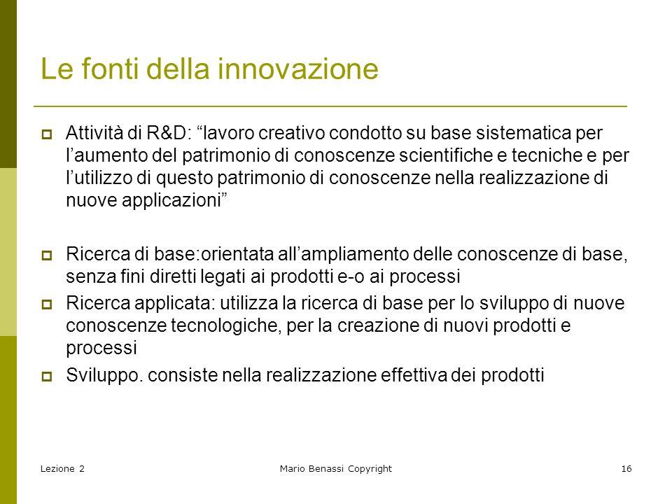 Lezione 2Mario Benassi Copyright17 Ricerca Sviluppo Produzione Commercializzazione Fonti dellinnovazione: linee interne