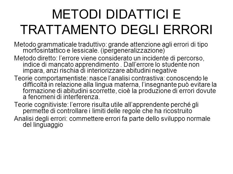 METODI DIDATTICI E TRATTAMENTO DEGLI ERRORI Metodo grammaticale traduttivo: grande attenzione agli errori di tipo morfosintattico e lessicale. (iperge