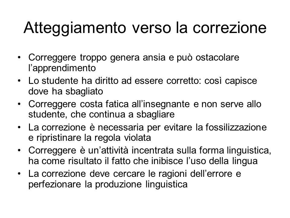 Riconoscere gli errori Errore= deviazione rispetto alla norma codificata dalla realtà linguistica (Dardano, 1997) Criteri per il riconoscimento dellerrore: -Correttezza -Appropriatezza -Comprensibilità -Soggettività -Criterio della flessibilità: tenere conto di apprendente e contesto