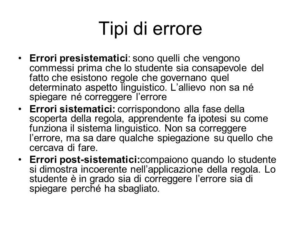 Tipi di errore Errori presistematici: sono quelli che vengono commessi prima che lo studente sia consapevole del fatto che esistono regole che governa