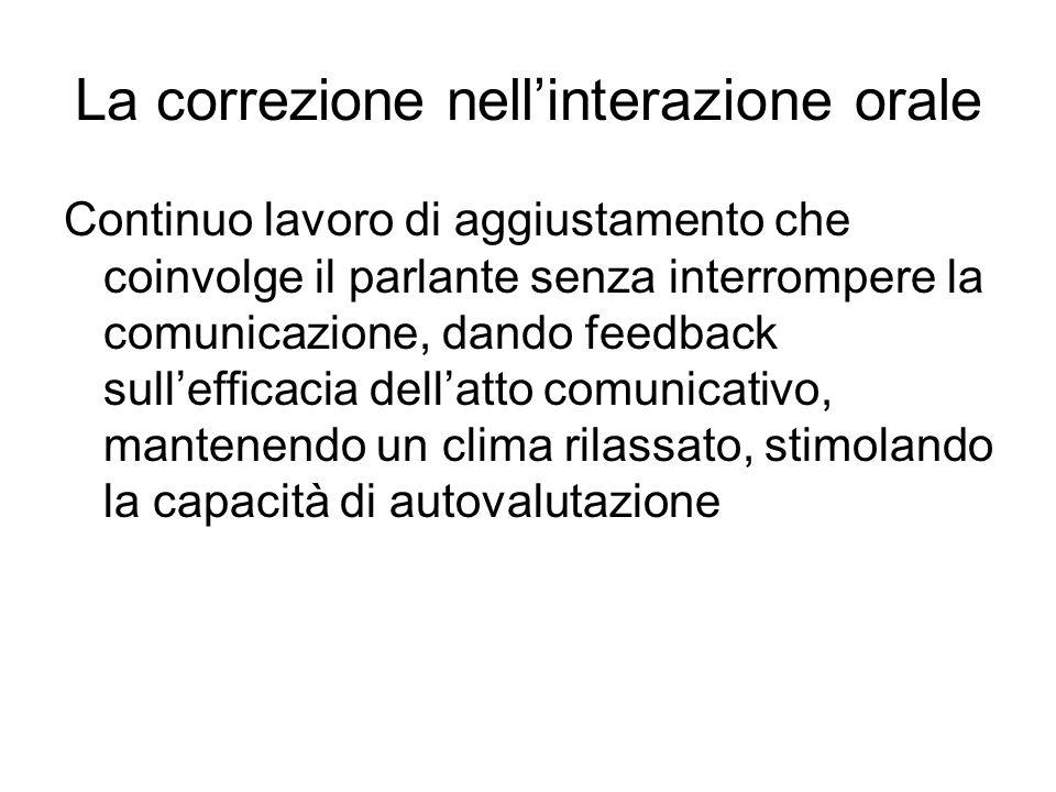 La correzione nellinterazione orale Continuo lavoro di aggiustamento che coinvolge il parlante senza interrompere la comunicazione, dando feedback sul