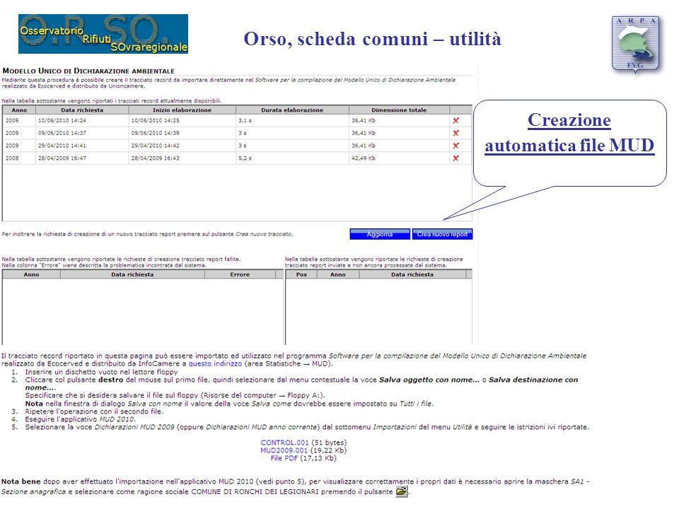 Orso, scheda comuni – utilità Creazione automatica file MUD