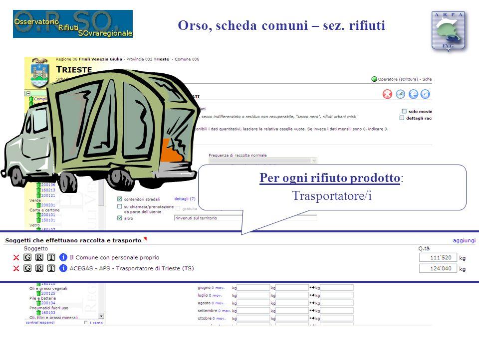 Per ogni rifiuto prodotto: Trasportatore/i Orso, scheda comuni – sez. rifiuti