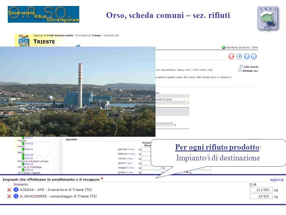 Per ogni rifiuto prodotto: Impianto/i di destinazione Orso, scheda comuni – sez. rifiuti