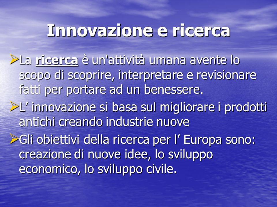 Innovazione e ricerca La ricerca è un attività umana avente lo scopo di scoprire, interpretare e revisionare fatti per portare ad un benessere.