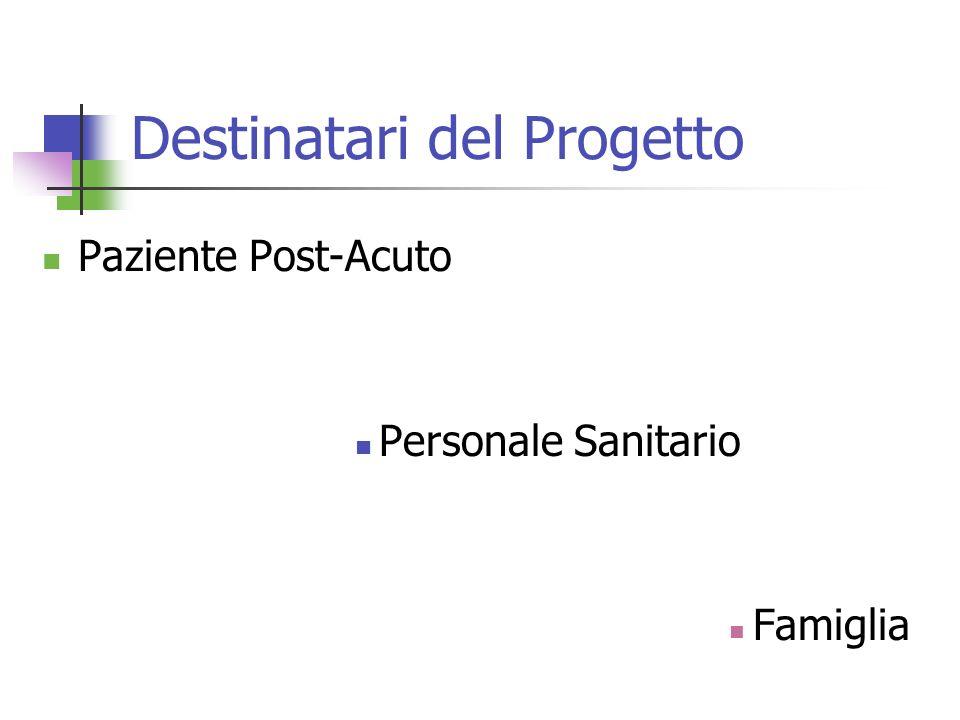 Destinatari del Progetto Paziente Post-Acuto Personale Sanitario Famiglia