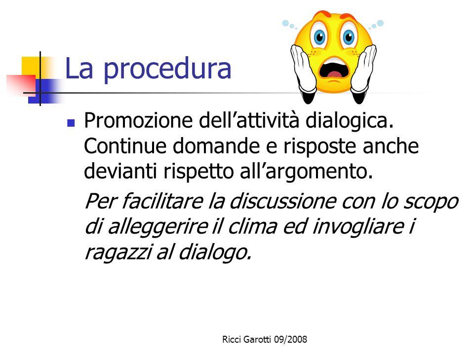Ricci Garotti 09/2008 La procedura Spiegazioni in LS senza ricorrere a linguaggi non verbali. Esporre gli alunni ad un input in LS molto ricco ed ampi