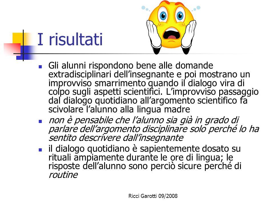 Ricci Garotti 09/2008 La procedura Promozione dellattività dialogica. Continue domande e risposte anche devianti rispetto allargomento. Per facilitare
