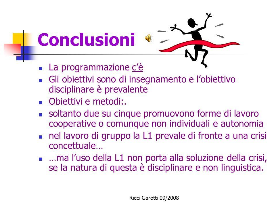 Ricci Garotti 09/2008 La procedura varietà dei momenti didattici; la costruzione di significati attraverso uninterazione continua. Non testi di riferi
