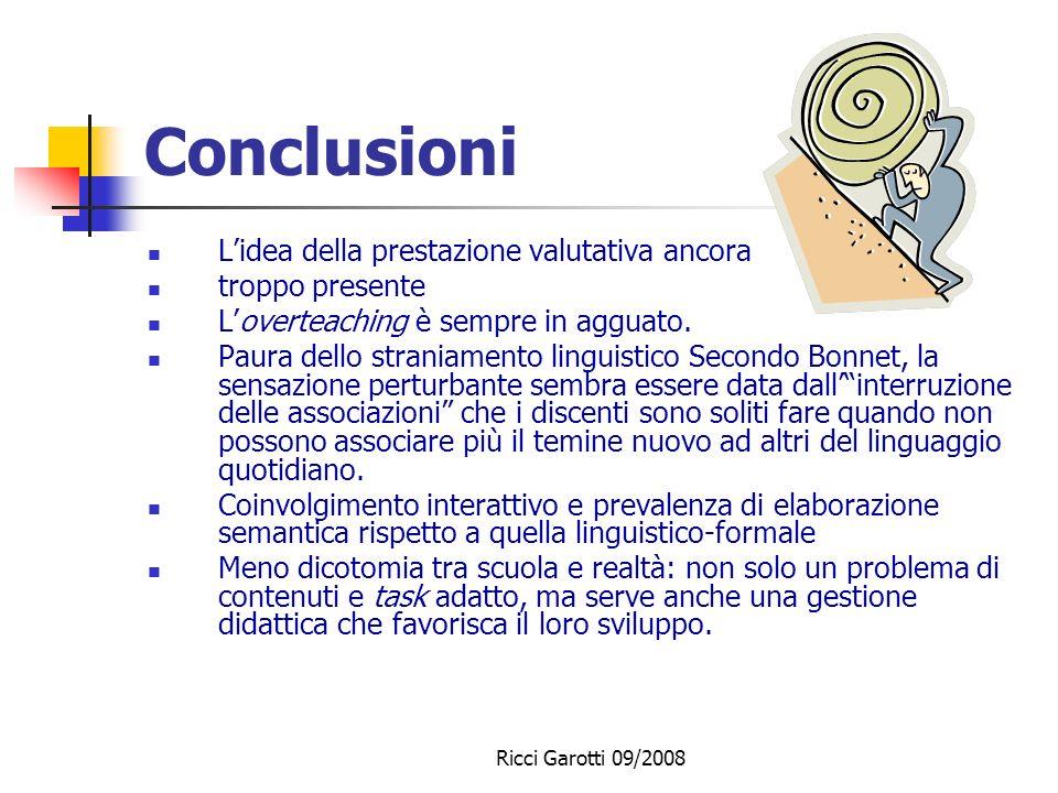 Ricci Garotti 09/2008 Conclusioni La programmazione cè Gli obiettivi sono di insegnamento e lobiettivo disciplinare è prevalente Obiettivi e metodi:.