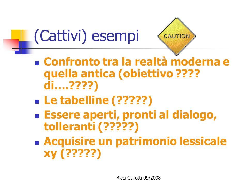Ricci Garotti 09/2008 Domande di ricerca Gli obiettivi sono originali? Che tipo di obiettivi sono stati posti? Vengono posti esplicitamente obiettivi