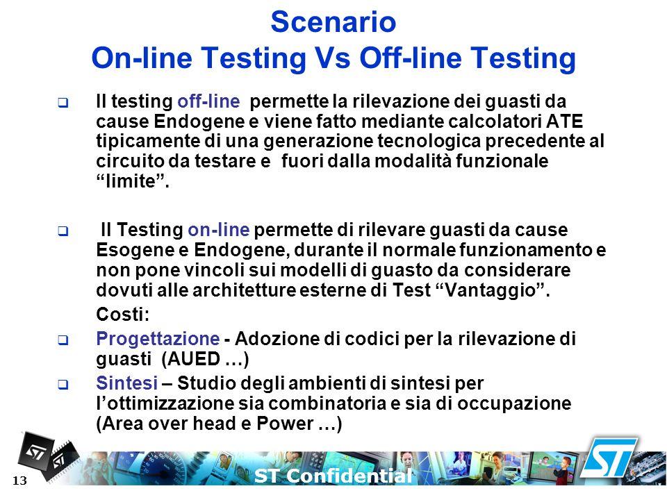 ST Confidential 13 Scenario On-line Testing Vs Off-line Testing Il testing off-line permette la rilevazione dei guasti da cause Endogene e viene fatto