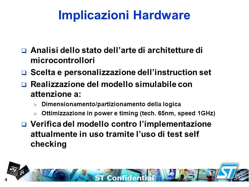 ST Confidential 4 Implicazioni Hardware Analisi dello stato dellarte di architetture di microcontrollori Scelta e personalizzazione dellinstruction se