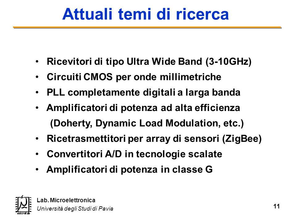 11 Lab. Microelettronica Università degli Studi di Pavia Attuali temi di ricerca Ricevitori di tipo Ultra Wide Band (3-10GHz) Circuiti CMOS per onde m