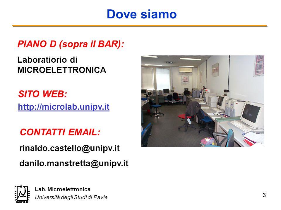 3 Lab. Microelettronica Università degli Studi di Pavia Dove siamo SITO WEB: http://microlab.unipv.it PIANO D (sopra il BAR): Laboratiorio di MICROELE