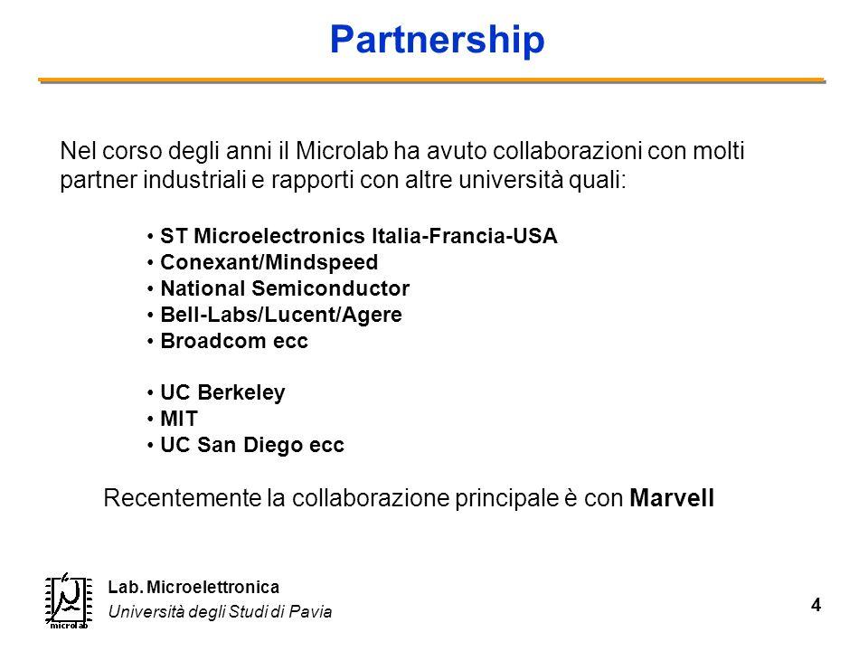 4 Lab. Microelettronica Università degli Studi di Pavia Partnership Nel corso degli anni il Microlab ha avuto collaborazioni con molti partner industr