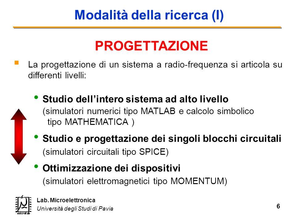 6 Lab. Microelettronica Università degli Studi di Pavia Modalità della ricerca (I) La progettazione di un sistema a radio-frequenza si articola su dif