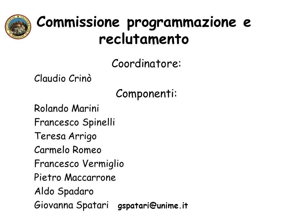 Commissione programmazione e reclutamento Coordinatore: Claudio Crinò Componenti: Rolando Marini Francesco Spinelli Teresa Arrigo Carmelo Romeo France