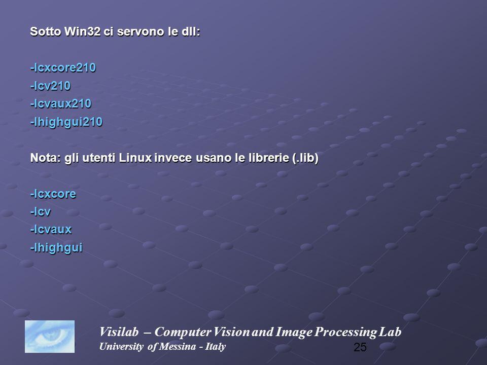25 Sotto Win32 ci servono le dll: -lcxcore210-lcv210-lcvaux210-lhighgui210 Nota: gli utenti Linux invece usano le librerie (.lib) -lcxcore-lcv-lcvaux-