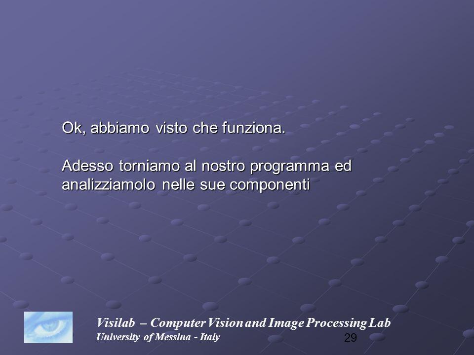 29 Visilab – Computer Vision and Image Processing Lab University of Messina - Italy Ok, abbiamo visto che funziona. Adesso torniamo al nostro programm